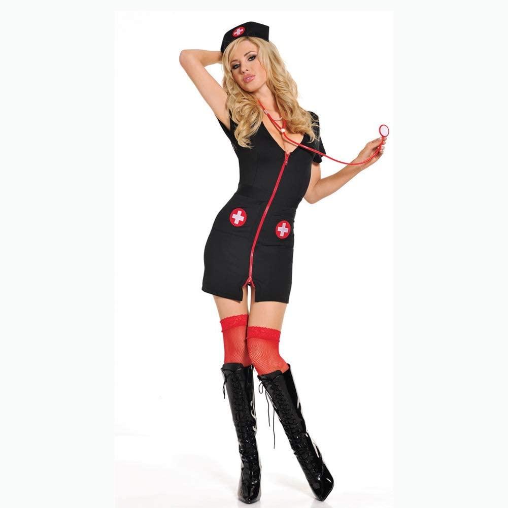 CHENGXI-Sexy Lingerie Black Satin Dress Erotic Bedroom Costume Set Lingerie Nurse Outfit Costume for Women