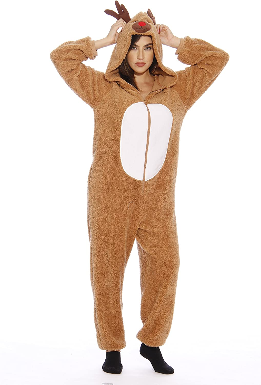#followme Adult Christmas Onesie for Women Sherpa One-Piece Pajamas