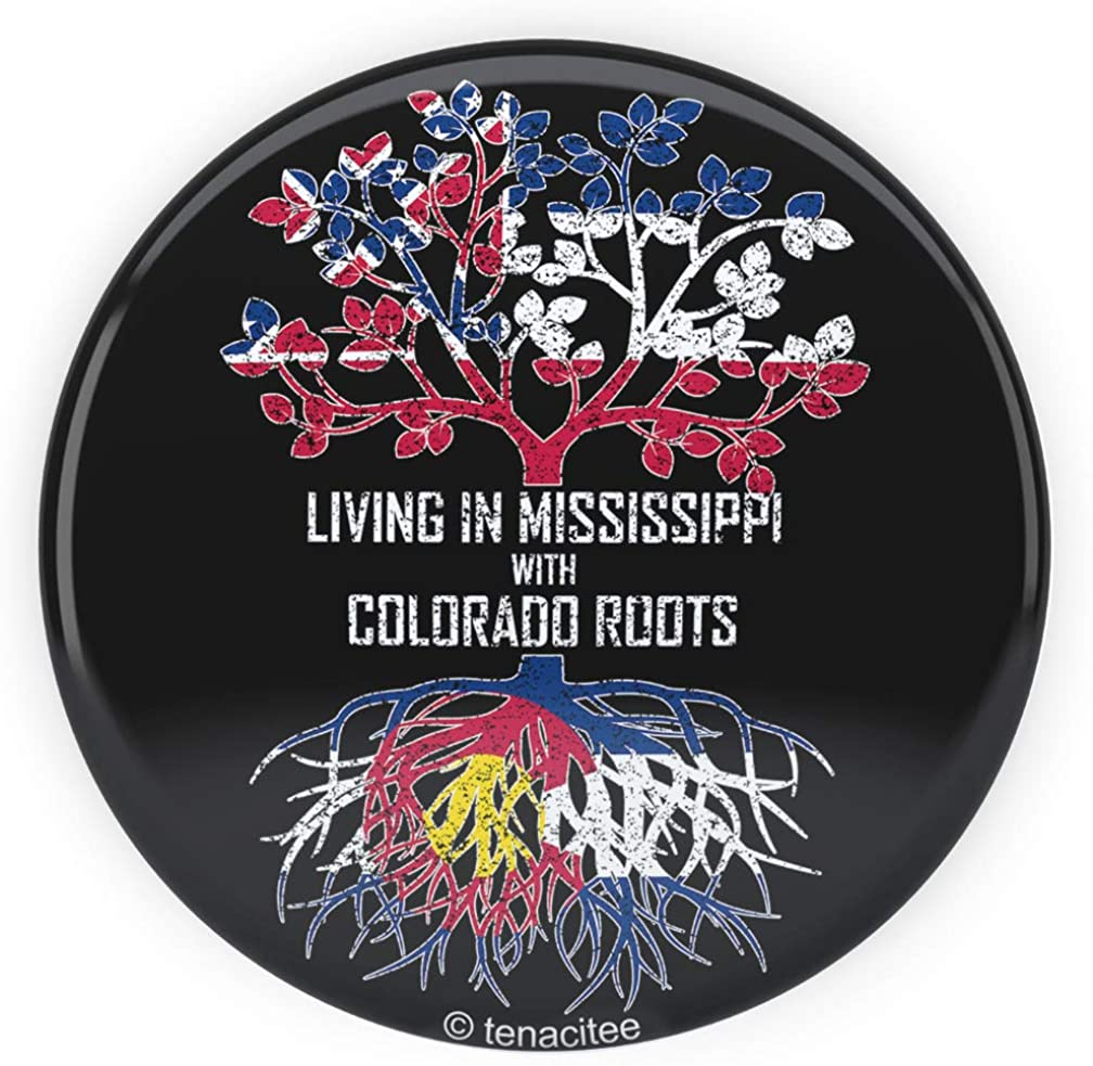 Tenacitee Living In Mississippi with Colorado Roots Pinback Button
