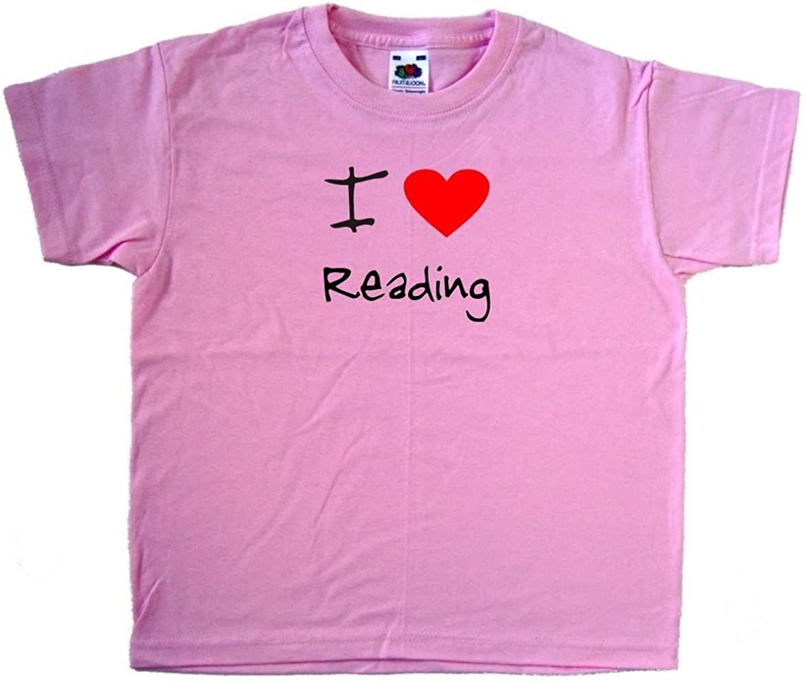 I Love Heart Reading Pink Kids T-Shirt