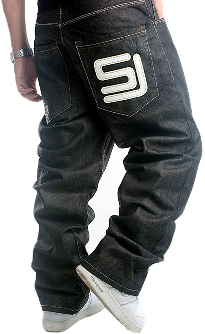 QBO Men's Cool Hip-hop Baggy Denim Loose Pants