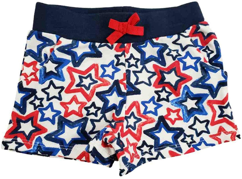 Celebrate Toddler Girls Patriotic Red White Blue Star Shorty Shorts Soft Stretch