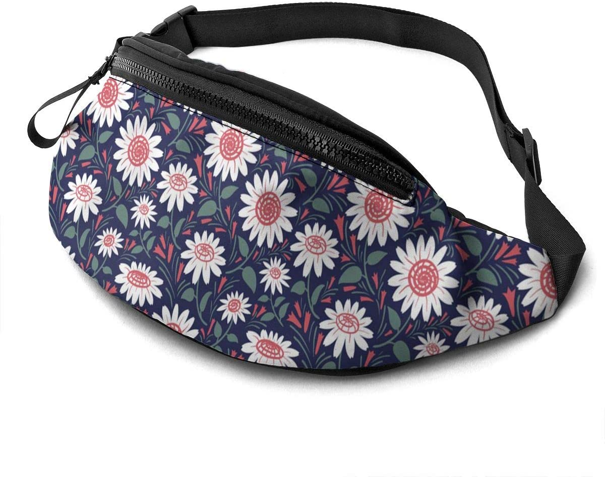 Decorative Sunflowers pattern Fanny Pack for Men Women Waist Pack Bag with Headphone Jack and Zipper Pockets Adjustable Straps