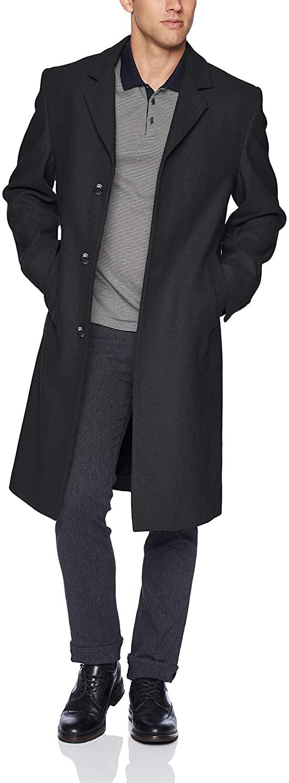 LONDON FOG Men's Signature Wool Blend Top Coat, Charcoal, 44L