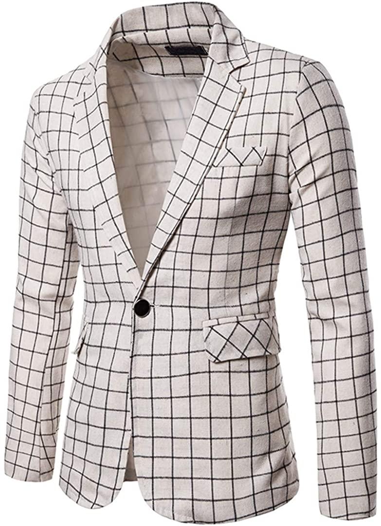 Charm Mens Casual Fit Slim Suit One Button Business Coat Jacket Slim Fit Male Blazer Plaid Blouse
