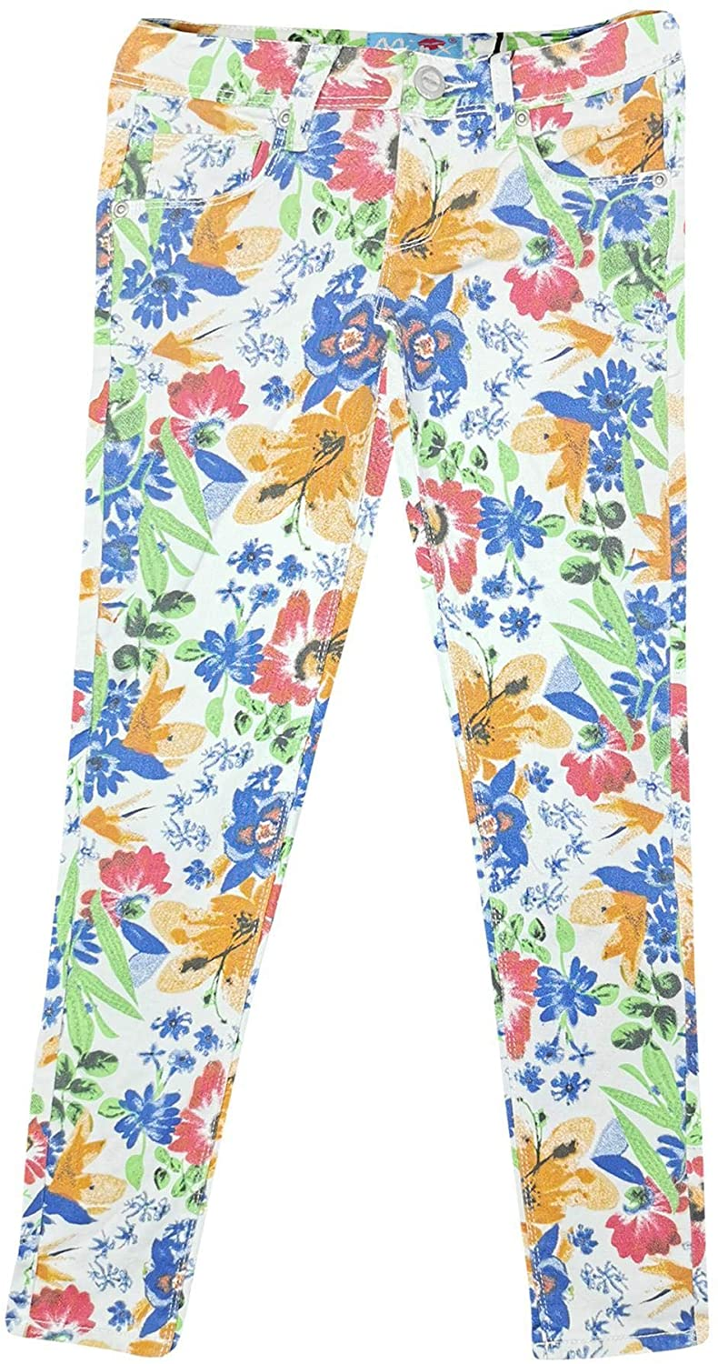 Kids Girls Stretchy Floral Print Jeans Denim Pants Trousers Jeggings 7-13 Years