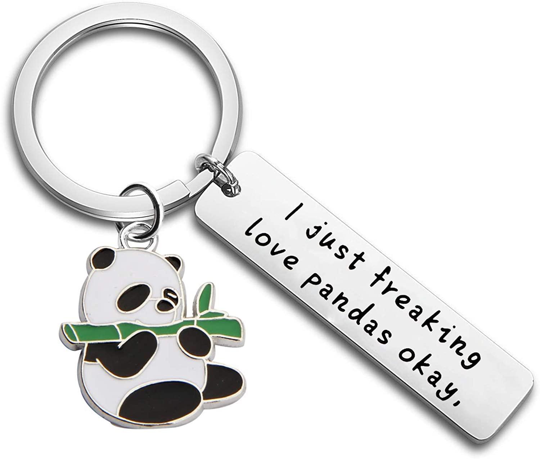 FUTOP I Just Freaking Love Pandas Okay Keychain Funny Panda Gift for Friends, Animal Lovers