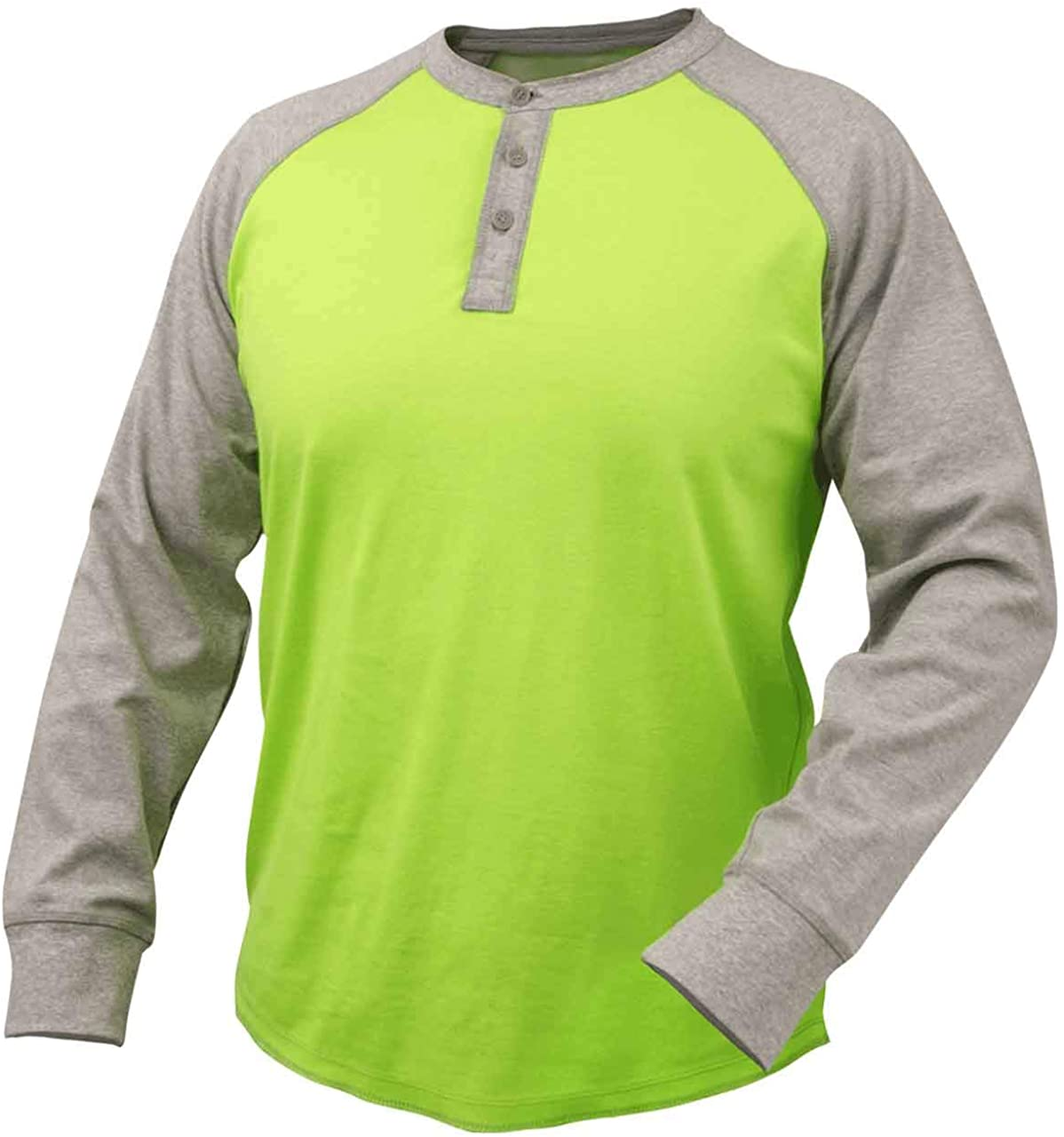 Black Stallion TF2520 Flame-Resistant Cotton Jersey Henley Long Sleeve T-Shirt, Gray/Lime, Large