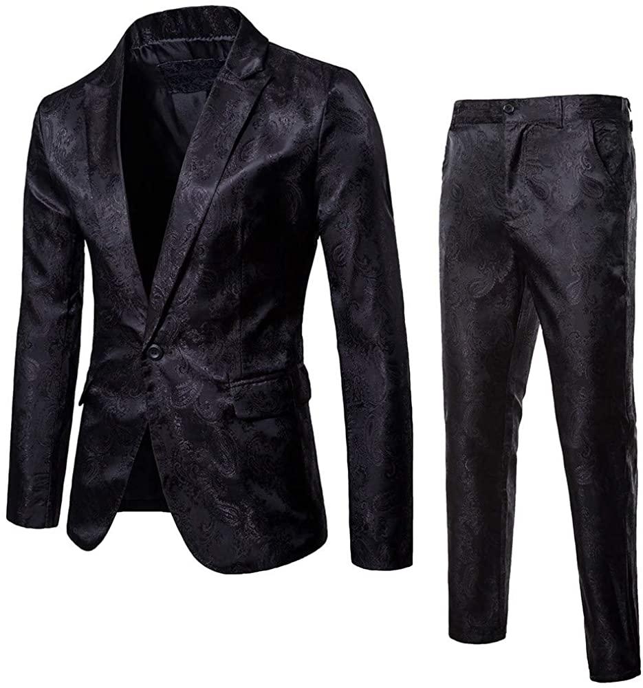 MoonHome Men's Suit Slim 2-Piece Suit Blazer Business Wedding Party Jacket Coat & Pants