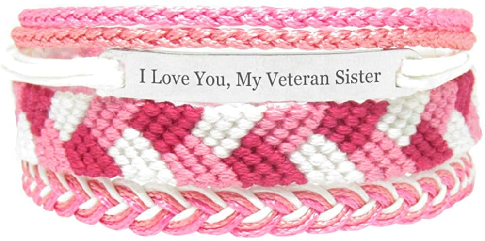Miiras Family Engraved Handmade Bracelet - I Love You, My Veteran Sister - Pink - Made of Embroidery Thread and Stainless Steel - Gift for Veteran Sister