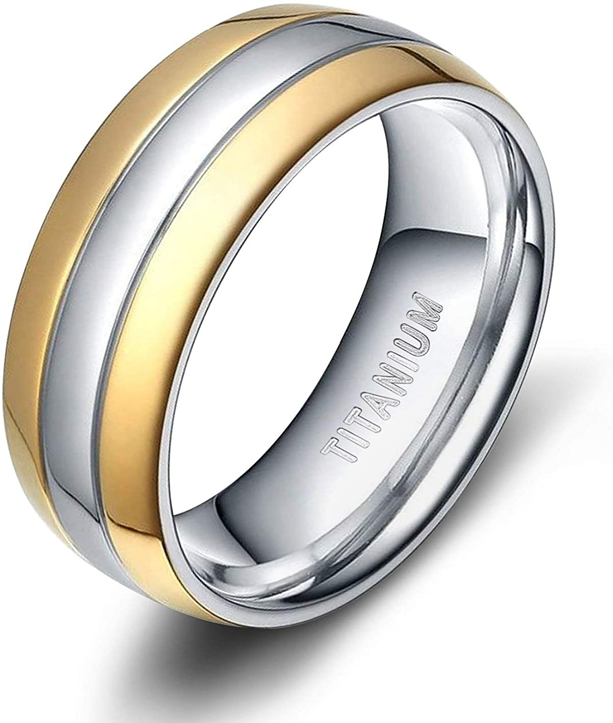 TIGRADE 6mm 8mm Titanium Ring Two Tone Dome Polished Band Comfort Fit Size 5-13