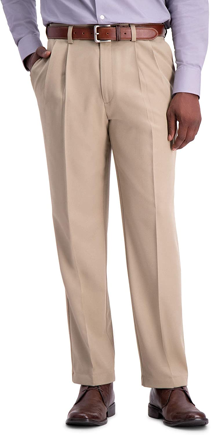 Haggar Men's Big and Tall Cool 18 Pro Classic Fit Pleat Front Pant