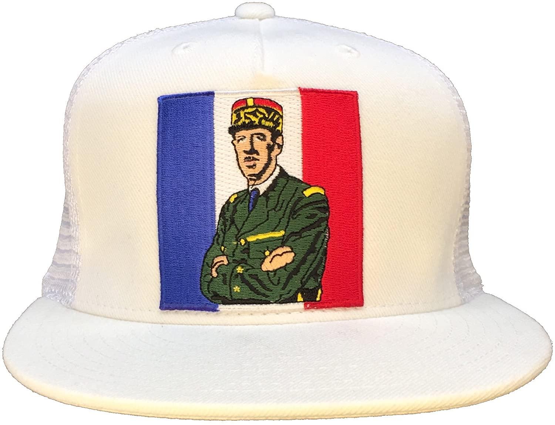 Charles De Gaulle French Flag Hat White Flat Brim Mesh Snapback