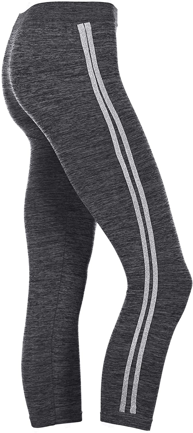 Crush Apparel Girl's Ankle Length Leggings with Silver Metallic Stripes Black & Heather Gray