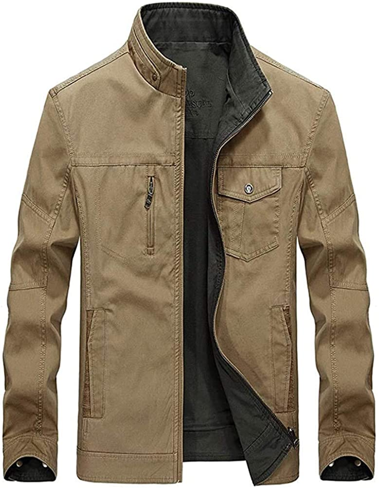 Qhghdgysd Men's Fashion Reversible Wear Stand Collar Cotton Casual Work Jacket