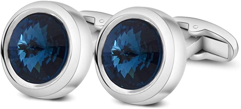 MERIT OCEAN Mens Cufflinks Elegant Style Cuff Link Super Shiny Swarovski Navy Blue Crystal Circular Cufflinks with Gift Box