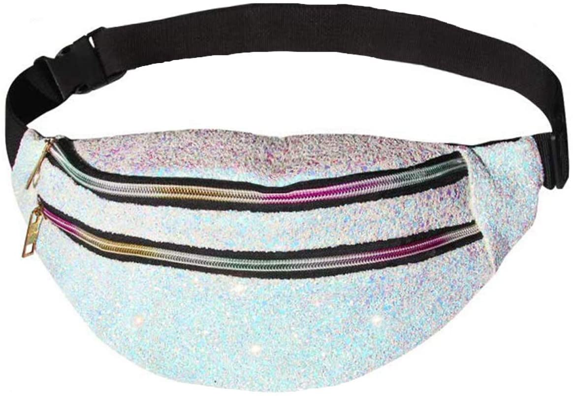 Fanny Packs Holographic Belt Bag Shiny Waist Bag Fashion Metallic Bum Bag for Women Men Sport Traveling Partying Rave Festival