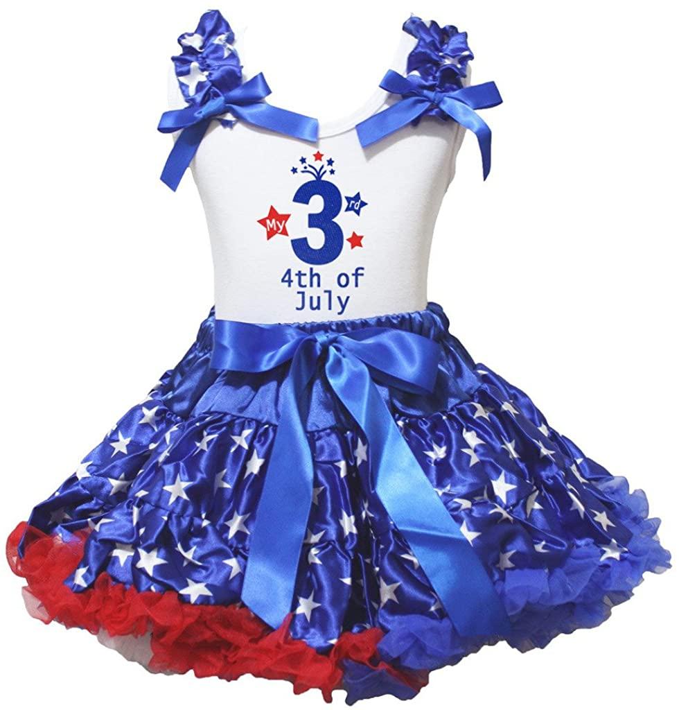 Petitebella My 3rd 4th of July White Shirt Stars Blue Ribbon Skirt 1-8y