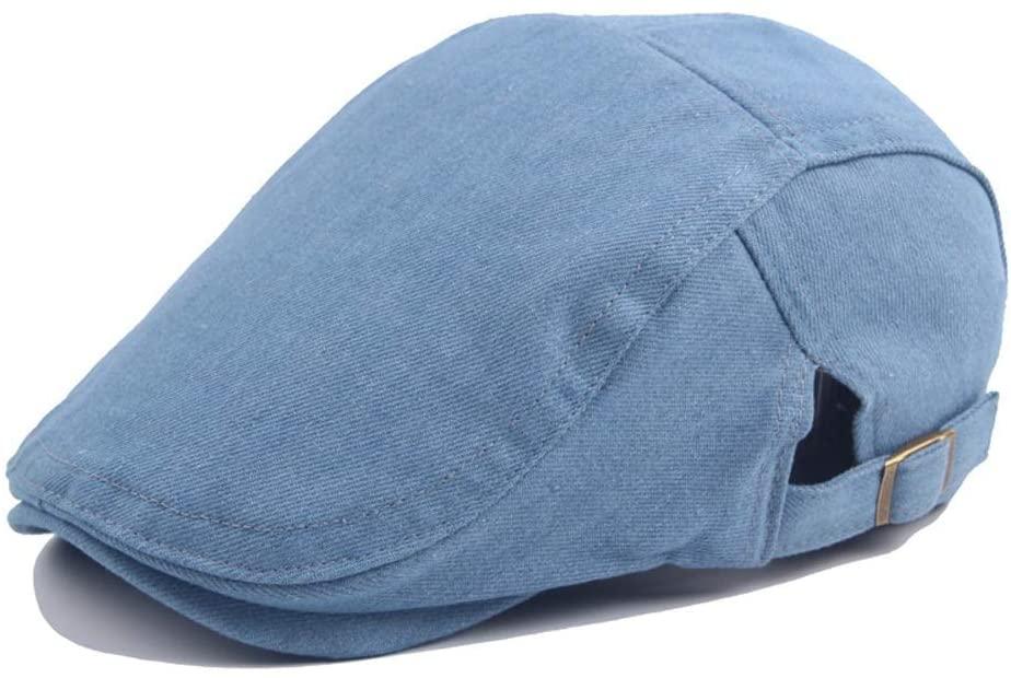 MADONG Travel Cap Beret Cap Autumn Wool Ladies Washed Denim Mens Outdoor Sun Hat Sun Hat Outdoor (Color : Light Blue, Size : 56-58CM)