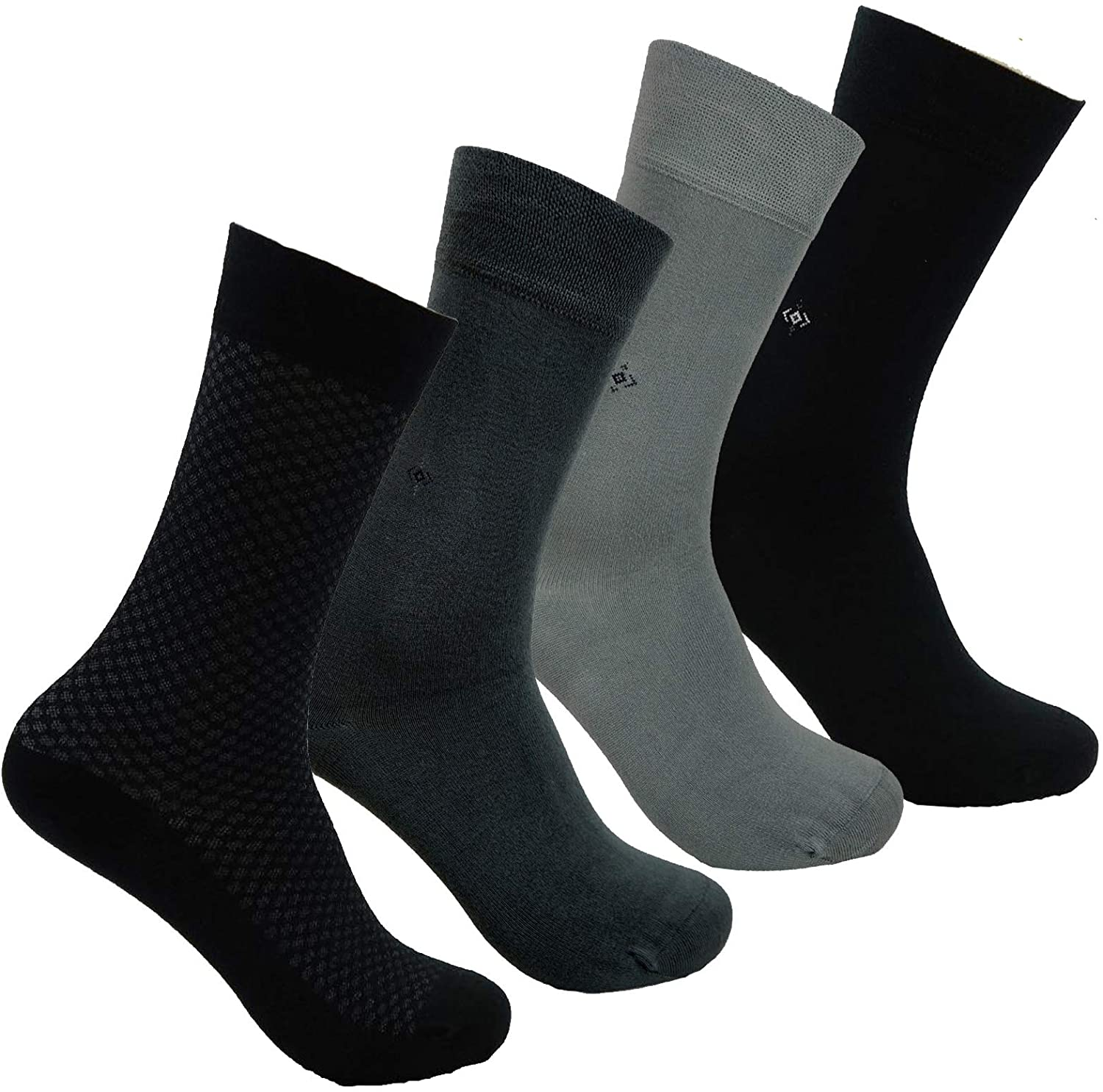 Mens BAMBOO SOCKS - 4 Pair, Natural, Antibacterial, Scented, Cashmere Touch - Made In TURKEY