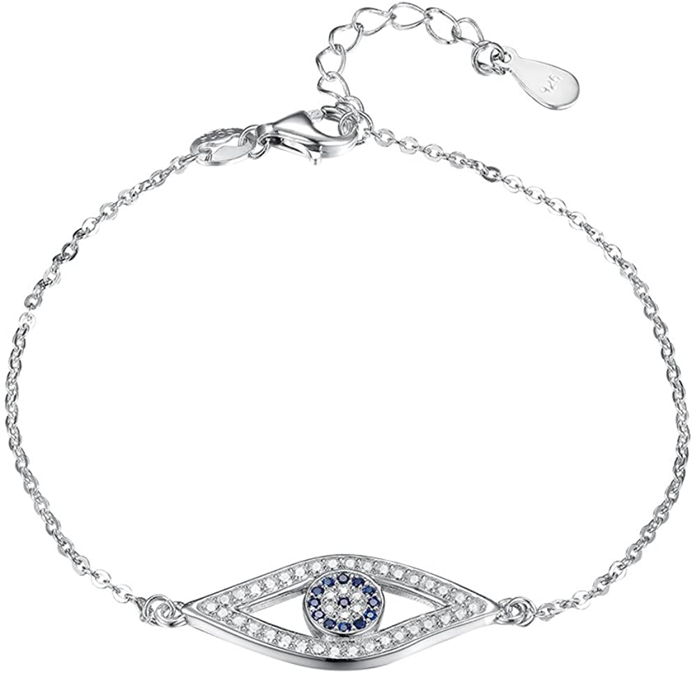 TONGZHE Blue Evil Eye Link Bracelet in Sterling Silver 925 with Cubic Zirconia CZ and 6.5
