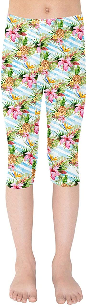 Aloha Pineapple Stripes Kids Capri Leggings