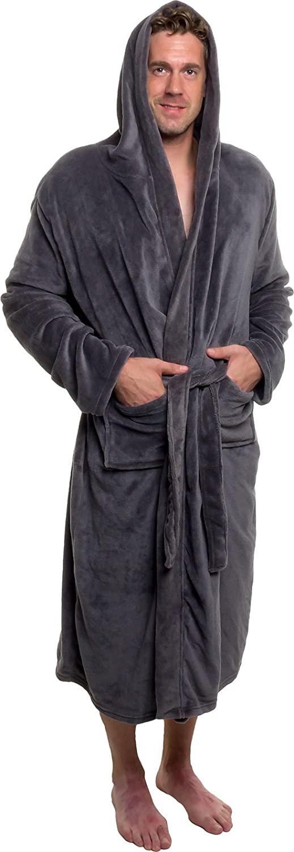 Ross Michaels Men's Hooded Robe - Plush Shawl Kimono Bathrobe for Men