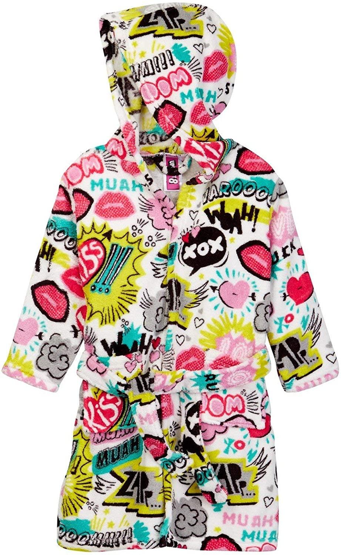 Up Past 8 Girls' Fuzzy Hooded Robe, XOX, Size Medium / 6-7