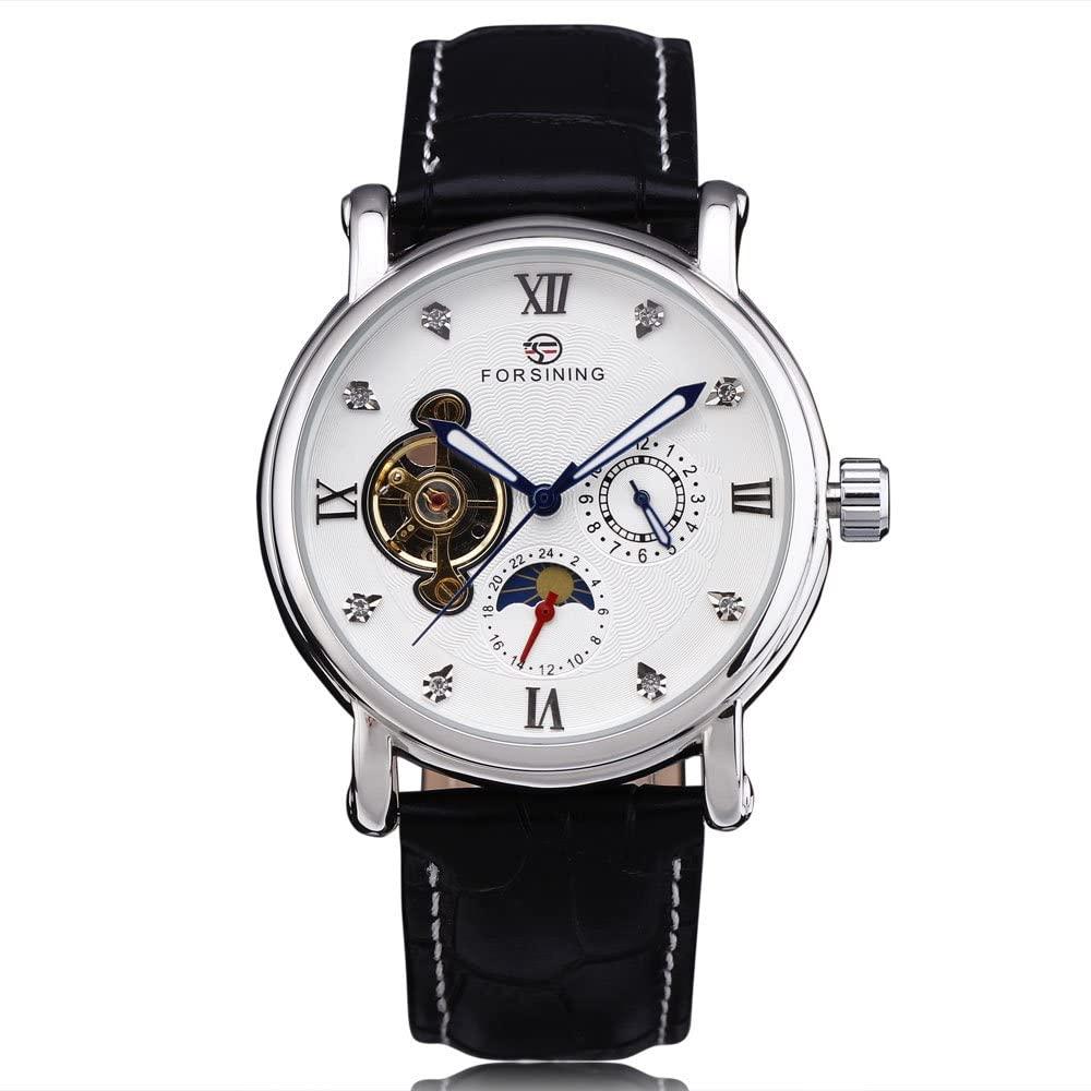 FORSINING Luxury Tourbillon Diamond Calendar Men Leather Band Rose Gold Automatic Mechanical Watches