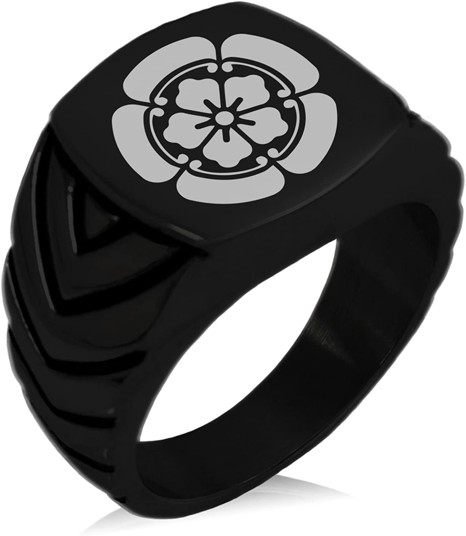 Tioneer Stainless Steel Nobunaga Oda Samurai Crest Chevron Pattern Biker Style Polished Ring