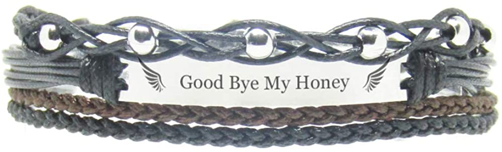Miiras Remembrance Bracelet, Memorial Jewelry - Good Bye My Honey - Black 3- Beautiful Way to Remember Your Honey That is no Longer with You