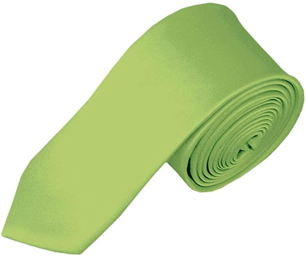 Mens Solid White Skinny Narrow 2 Necktie Pear Green