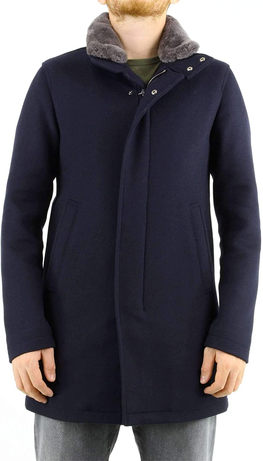 Herno Blue Wool Coat with Fur Collar, Mens.