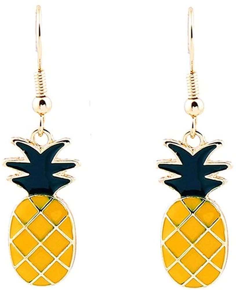 Summer Fruit Earrings 18K Gold Plated Pineapple Dangle Hook Earrings For Women Girls
