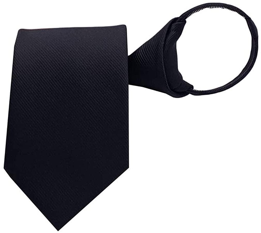 BESMODZ Men's Zipper Tie Pretied Adjustable Solid Color Silk Formal Suit Necktie