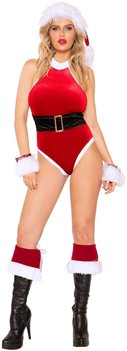 Musotica Sexy Holidays Santa's Lil Helper Halterneck Red Velvet Belted Romper