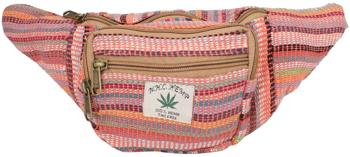 Hemp Fanny Pack,Adjustable Waist and Multiple Pockets,Waist Bag & for all purpose (Multi- Red)