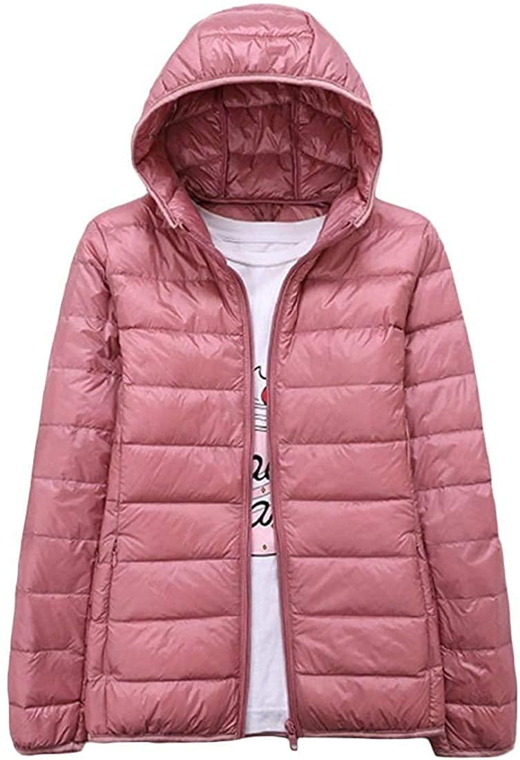 Men Winter Full-Zip Hooded Weight Light Puffer Pure Outwear Down Jacket