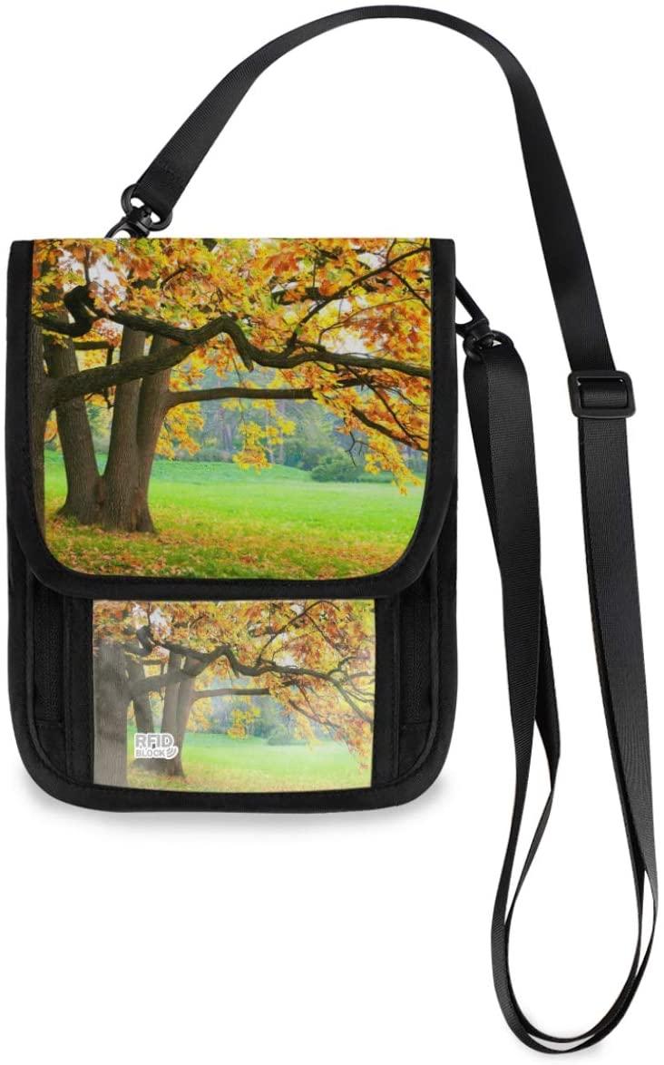 Travel Wallet Neck Pouch - Landscape Garden Forest Passport Holder with RFID Blocking for Man Woman Anti Theft Wallet