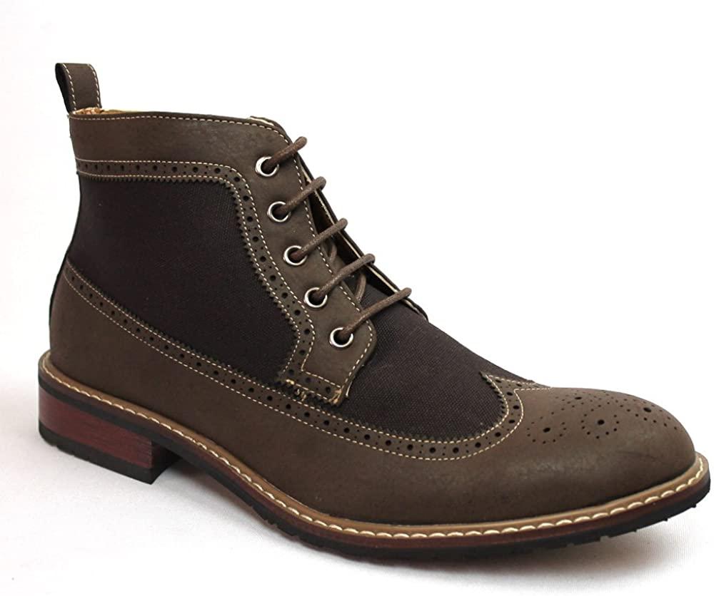 Ferro Aldo High Top Wing Tip Brogue Dress/Casual Chocolate Brown Boots Original Perforation 806278