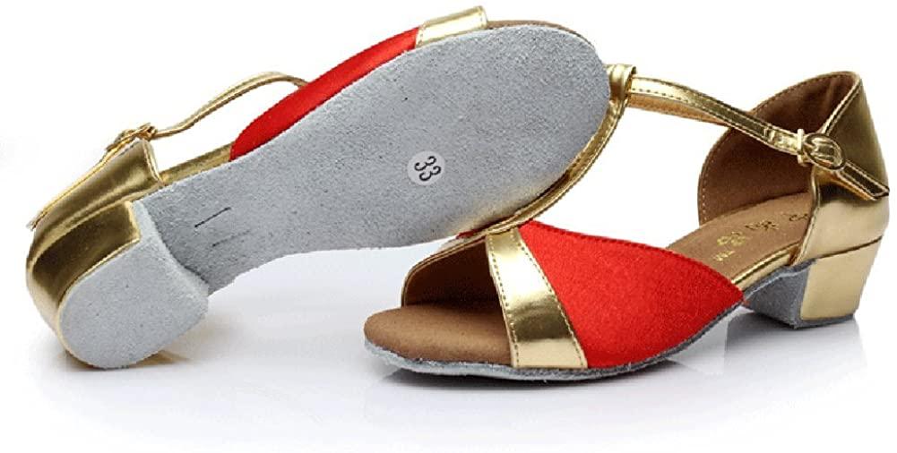 WYMNAME Girls Latin Dance Shoes Dancing Shoes Ballroom Dancing Low Heels Soft Bottom Wear-Resistant Ballroom Dance Shoes