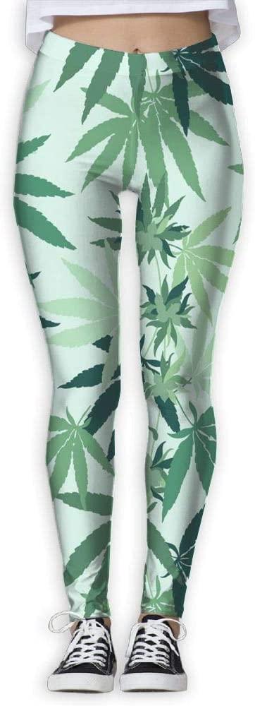 PIOL Womans Cannabis Leaf High Waist Skinny Leggings Yoga Jogger Sweatpants