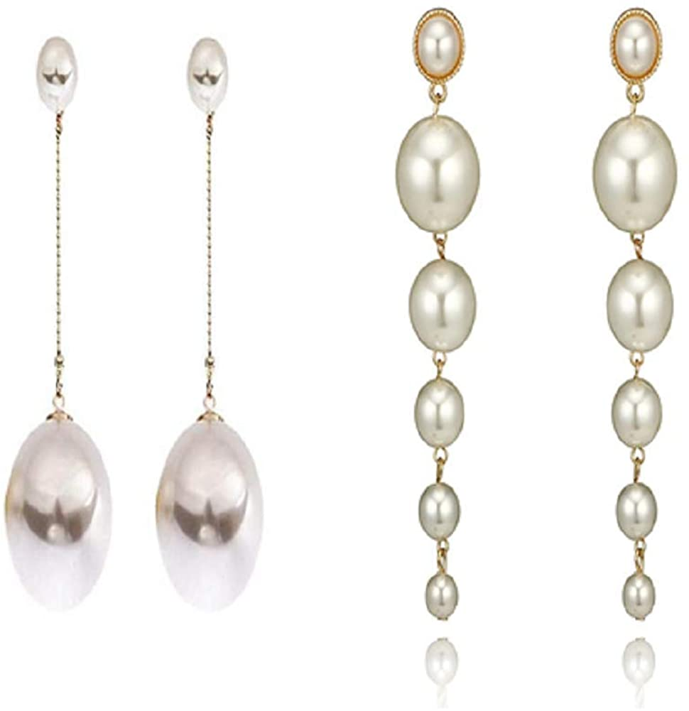 Tiande Big Pearl Dangle Earrings Long Pearl Earrings for Women Girls