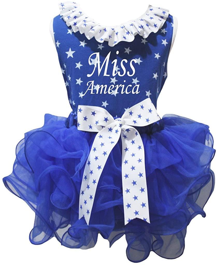 Petitebella Miss America Stars Shirt White Blue Petal Skirt Set Nb-8y