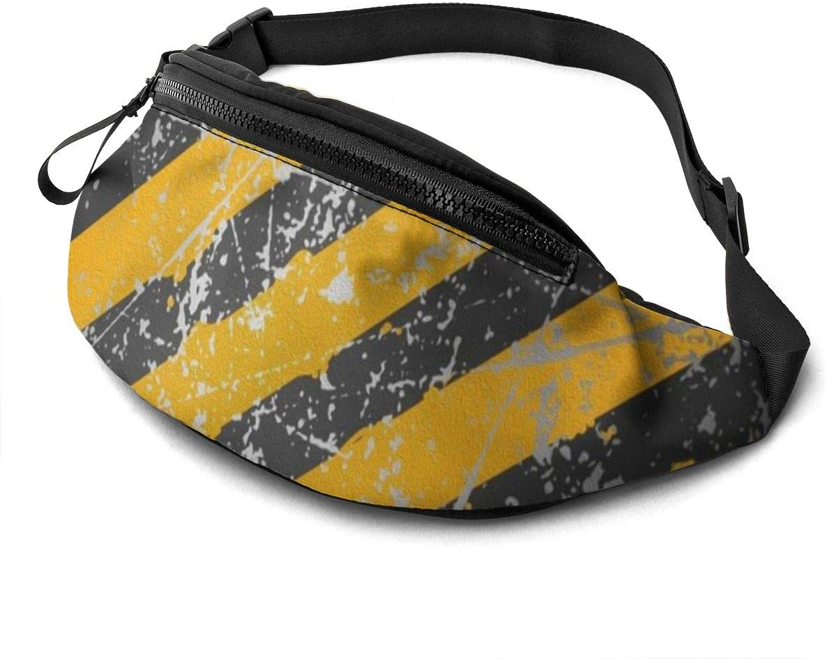Metal stripe Fanny Pack for Men Women Waist Pack Bag with Headphone Jack and Zipper Pockets Adjustable Straps