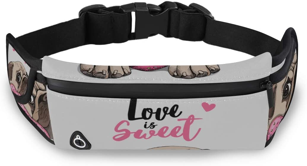 Adorable Puppy Pug Dog Pink Donut Waist Bag Pack Cute Fashion Bags Zip Waist Pack With Adjustable Strap For Workout Traveling Running