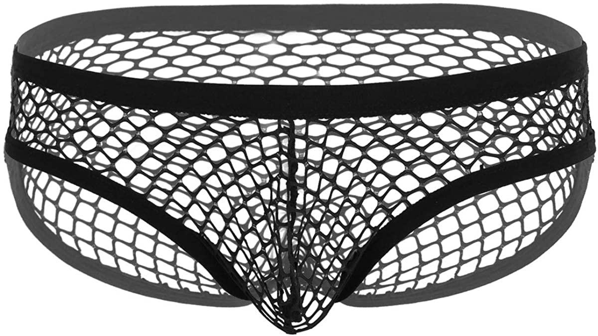 MSemis Men Fishnet Low Rise Pouch See-Through Sheer Breathable Bikini Underwear Swimwear Bathing Suit