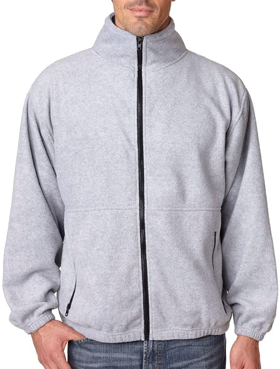 UltraClub Men's Iceberg Fleece Full-Zip Jacket - Grey Heather - 5XL