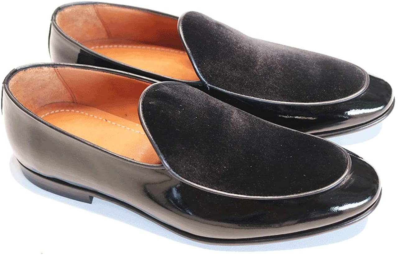 FB Collections Patent Leather/Suede Slip-on Loafer, Penny Loafers Men Dress Shoes for Any Occasion