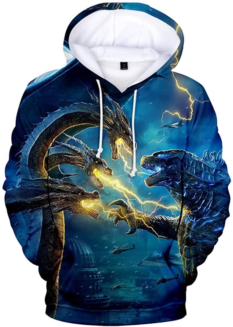 Imilan Mens Novelty Hoodie Godzilla 2 King of Monsters 3D Printed Hooded Pullover Boys Long Sleeve Sweatshirt